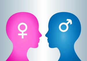 "Two human heads. ""Opposition"" and ""gender"" concept."