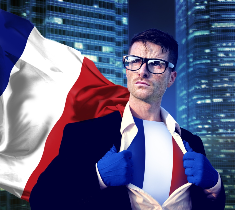 Superhero Businessman French Cityscape Concept