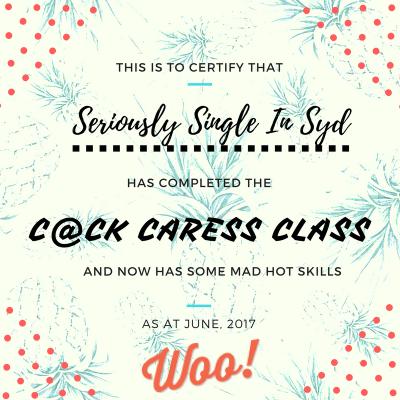 Seriously Single Woo Social Cock Caress Class Certificate