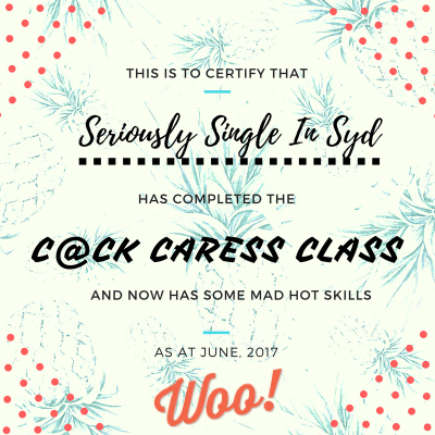 Seriously Single Woo Social Cock Caress Class Certificate